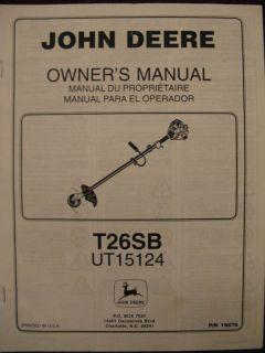 John Deere T26SB UT15124 Trimmer Operator Parts Manual