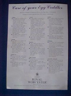 Royal Worcester Coddler Egg Cup Leaflet No1 24 Shown with Names