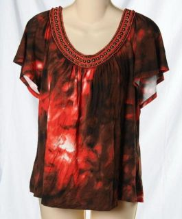 St. John Beaded Coral Red Brass Brown Tie Dye Scoop Neck Flowy Shirt