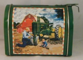 John Deere Tractor Barn Farm Equipment Mini Tin Mailbox Coin Money