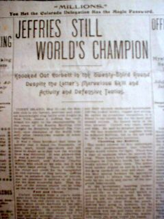 1900 Headline Newspaper James Jeffries Is Boxing Champion Defeats Jim Corbett