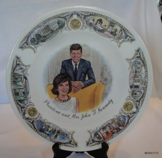Unique Vintage President Mrs John F Kennedy Plate w White House Scenes Border