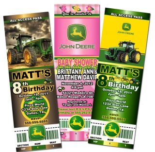 Custom John Deere Tractor Baby Shower Birthday Party Ticket Invitations