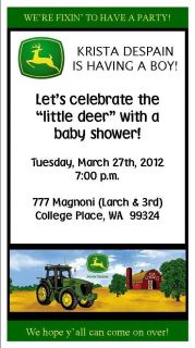 24 John Deere Tractor Baby Shower Birthday Party Invitations and Envelopes