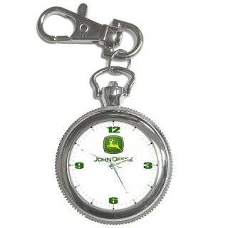 NEW JOHN DEERE TRACTOR KEY CHAIN POCKET STAINLESS STEEL WATCH NICE GIFT