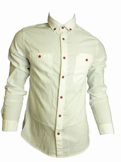 Mens Casual John Tungatt Designer Button Down Cream Red Oxford Shirt XLARGE