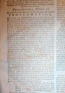 Original 1782 Phila PA Revolutionary War Newspaper Thanksgiving Day Proclamation