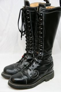 John Fluevog Leather Steampunk Goth Combat Tall Boots Mens 10 D