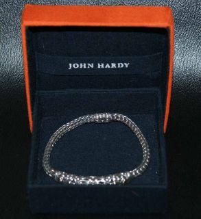 John Hardy Sterling Silver Woven Chain 18K Gold Accent Push Lock Bracelet in Box