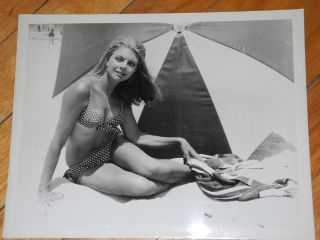 Vintage 1968 Actress Heather Hewitt Mission Mars Polka Dot Bikini Glamour Photo