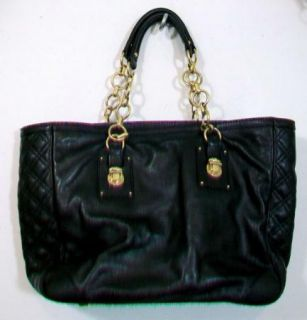 Marc Jacobs Black Calf Leather Quilted Tote Purse Bag w Gold Chain Straps
