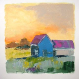 Original Barn Farm Landscape Painting JMW Art John Williams Impressionism