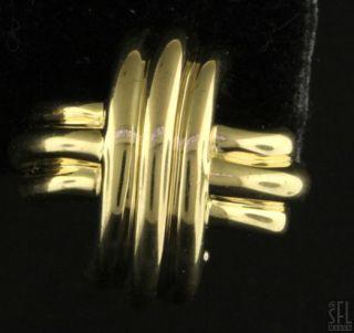 TIFFANY CO HEAVY 18K GOLD FANCY HIGH FASHION X EARRINGS