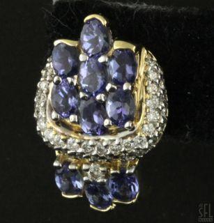 14k 2 Tone Gold Elegant 5 30ctw Diamond Tanzanite Cluster Earrings
