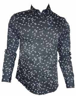 Mens Casual John Tungatt Designer Black Swallow Print Shirt Large