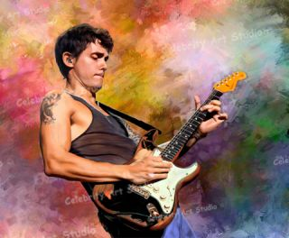 "John Mayer Poster ORG Mix Oil Painting Canvas w 1 5"" Gallery Wrap Up to 36x29"""