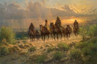Cowhands of The West by G Harvey Giclee on Canvas Free Herb Booth Print Print