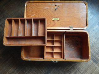 Vintage John Gilson Wood Fishing Tackle Box Hemingway Humphrey Bogart