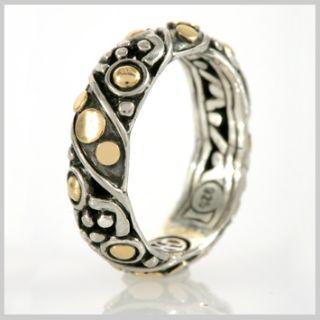 139821 JOHN HARDY Jaisalmer Dot Gold Silver Twist Band Ring size 6