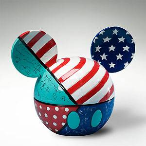 Mickey Mouse Ears Patriotic Box Romero Britto Disney Free Shipping No Tax