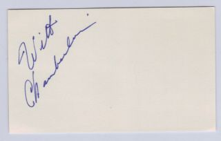 WILT CHAMBERLAIN AUTO HAND SIGNED INDEX CARD BASKETBALL HALL OF FAME