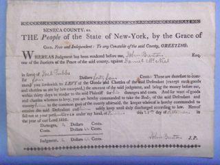 1816 Seneca County New York Signed Judgment John Burton J P Debtor's Prison