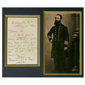 CIVIL WAR ADMIRAL DAVID DIXON PORER AUOGRAPH LEER SIGNED FRAMED |