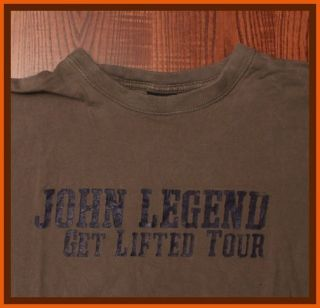 John Legend Get Lifted Tour Bold Logo Authentic Rock Concert Tan Large T Shirt