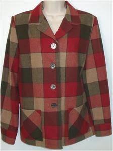 Pendleton Virgin Wool 49er Jacket Red Gray Tan Plaid Limited Edition Blazer M