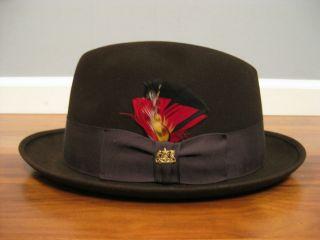"""Sharp Men's Vintage John B Stetson Hat """"The Sovereign"""" Black Fedora"""