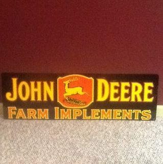John Deere Farm Implements Sign One Sided New Condition with Great Color