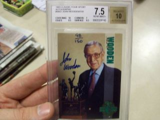 John Wooden 1993 Classic 4 Sport Auto 150 BGS Graded UCLA Bruins HOF Coach Dec