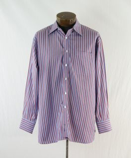 John W  Light Blue Burgundy Cotton Striped Dress Shirt Size 17 ST649S