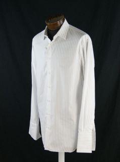 John W  Whie Coon Sriped French Cuff Dress Shir Size 16 5 SH640S  