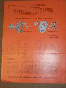 Vtg John B Stevens Catalog Rotary Tables Machine Tools |