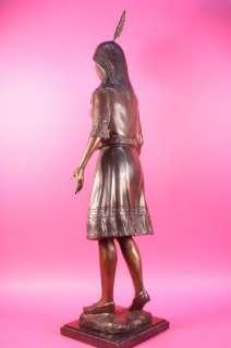 Signed James Fraser Pocahontas Native American Bronze Sculpture Statue Figure
