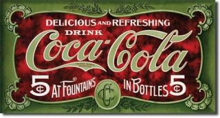 "Metal Tin Sign "" Coca Cola 1900's 5 Cent "" Made in The USA Coke Antique"