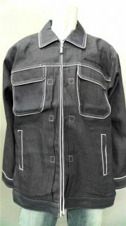 Johnny Blaze Mens 2XL Cotton Jean Jacket Dark Blue Denim Coat Designer Fashion
