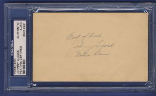 Johnny Lujack Auto Signed 3x5 1948 GPC Postcard PSA DNA