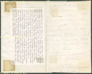William T Sherman Autograph Letter Signed 08 02 1875