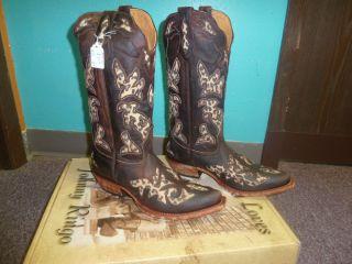 Womens Johnny Ringo Cowboy Boots 9B Brown w Cheetah cutouts pointed toe