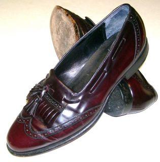 JOHNSTON MURPHY Mens 8 M Kiltie Tassel Burgundy Wingtip Loafers Dress Shoes