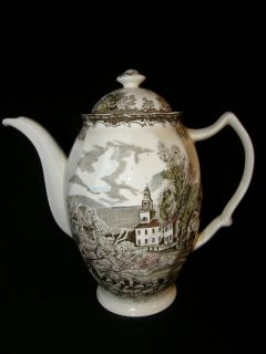 Johnson Brothers English Ironstone Friendly Village Coffee or Tea Pot Great Cond