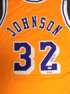 Magic Johnson Autographed Signed Yellow La Lakers Jersey HOF 02 PSA DNA