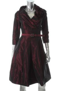 Teri Jon New Red Taffeta Shawl Collar Pleated A Line Cocktail Evening Dress 10