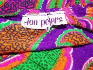 Vtg Jon Peters Long Skirt w Large Paisley Pattern in Vibrant Bold Colors Boho