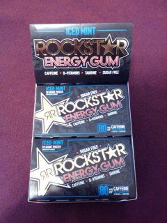 1 Box Rockstar 12 Packs Iced Mint Sugar Free 10 Calorie Energy Gum Caffeine