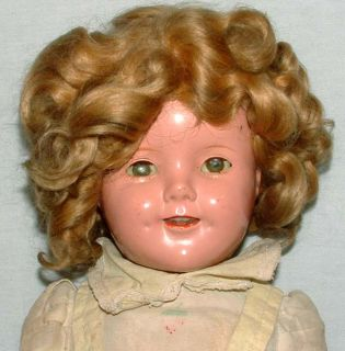 1930s IDEAL 18 COMPOSITION SHIRLEY TEMPLE DOLL w ORIGINAL WIG