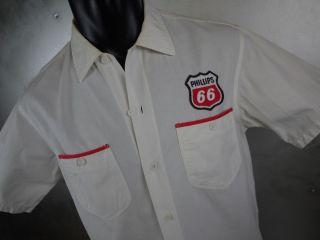 Mens 15 15 5 1950s VTG LEE Sanforized PHILLIPS 66 GAS STATION Uniform Shirt