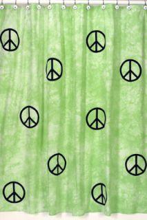 JoJo Peace Sign Tie Dye Lime Bath Fabric Shower Curtain